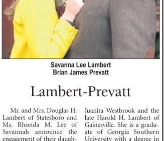 Savanna and Brian engagement announcement