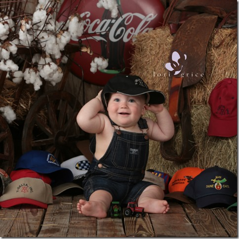 Baby's First Year-Barn-Baby Wearing Daddy's Hats