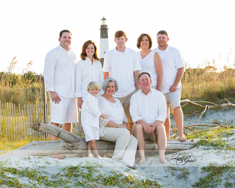 Allen Family - Family - Tybee Island - Lighthouse - Tybee - Savannah - Driftwod - Three generations